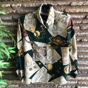 Laurel by Escada Vintage French Motif Silk Blouse